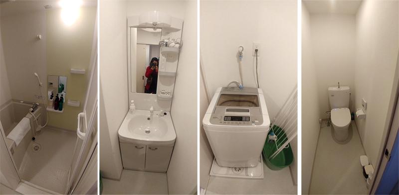Bathroom, toilet, wash basin and washing machine