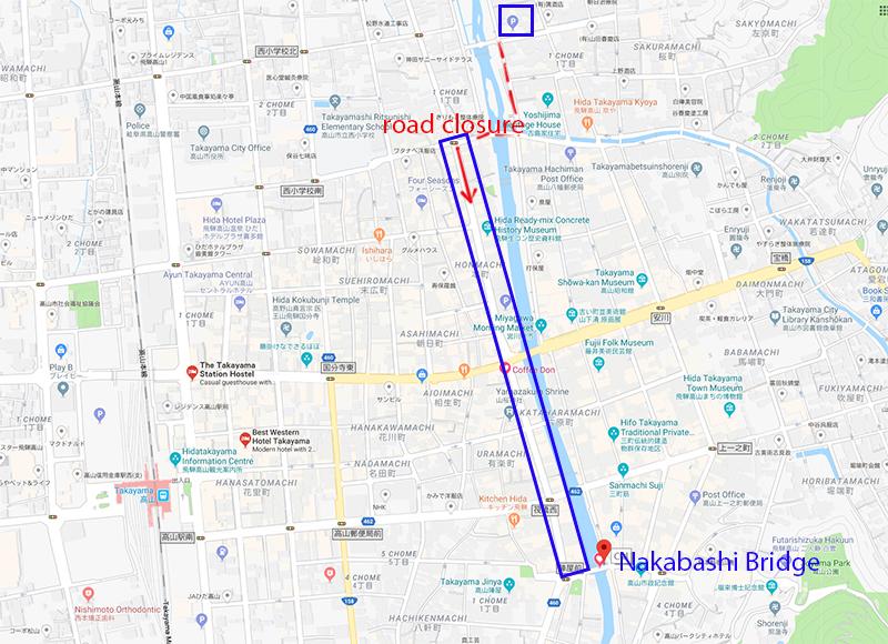 Route to Nakabashi Bridge