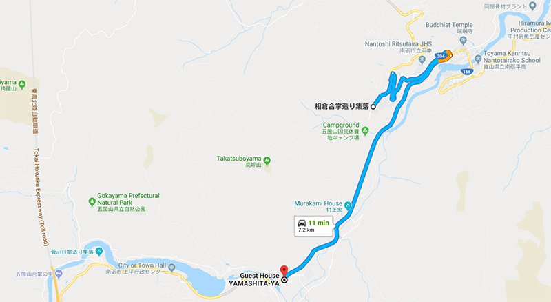 Route for Guest House to Ainokura Village