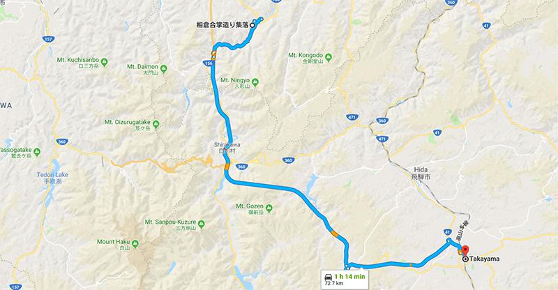 Route from Ainokura Village to Takayama City