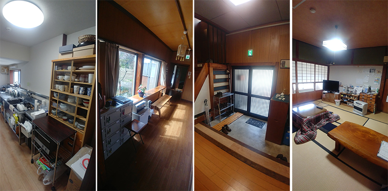 Shared kitchen, dinning room and common spaces at Guest House Yamashita YA