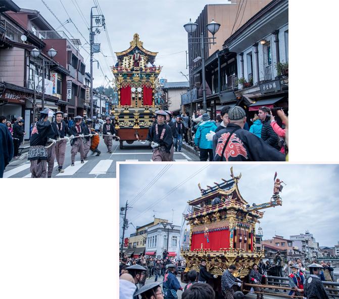 Floats parade at Takayama city