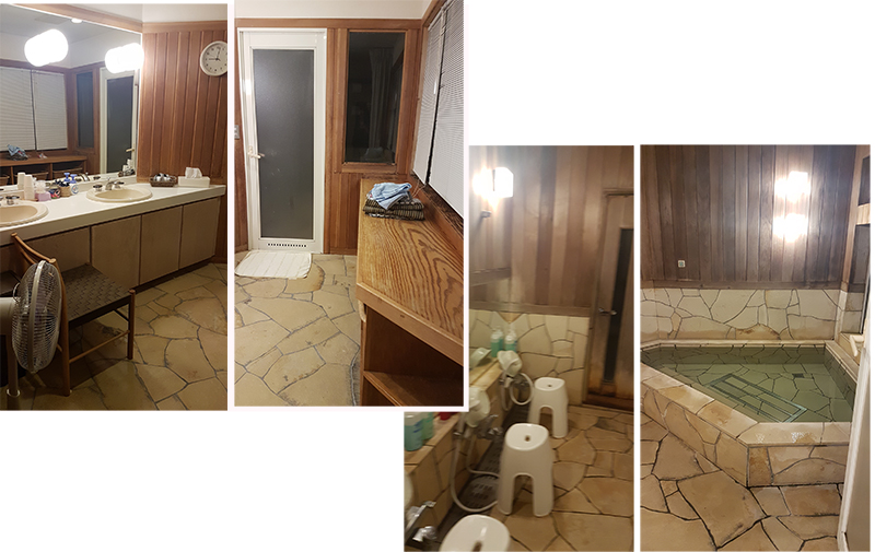 Japan Bath (onsen) with shower and attached changing room at Hatago Sakuraya