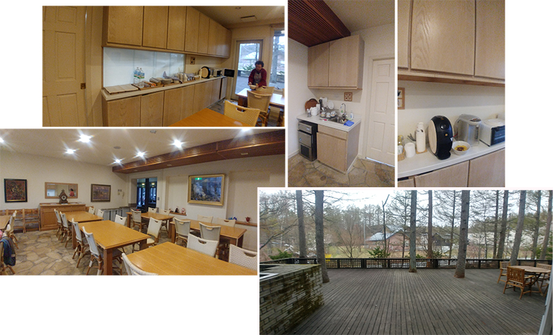 Guest kitchen and dining room with large outdoor sitting at Hatago Sakuraya