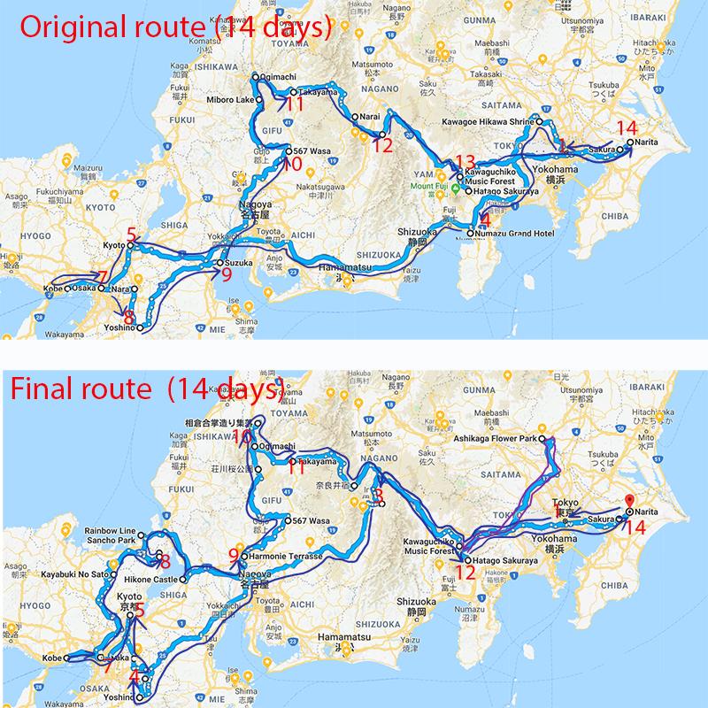Original route vs Final route