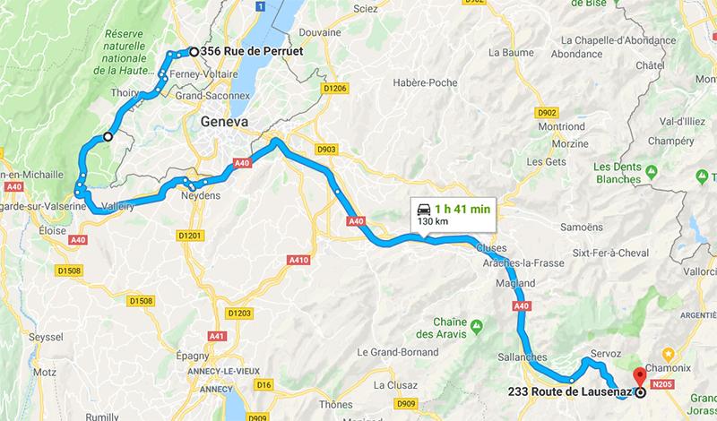 Route from Geneva to Chamonix
