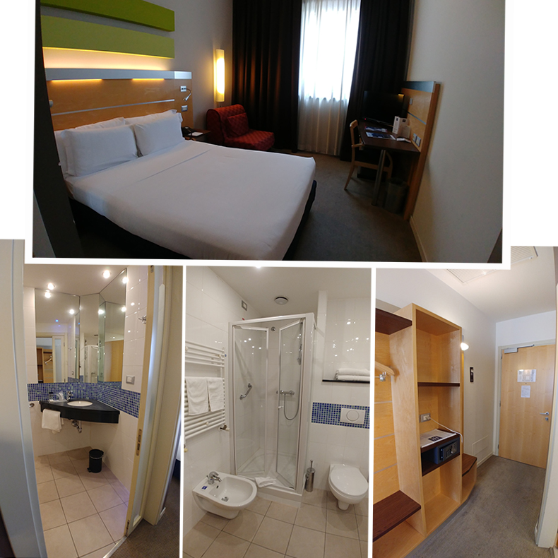 Our room and ensuite bathroom at IH Hotels Milano Gioia
