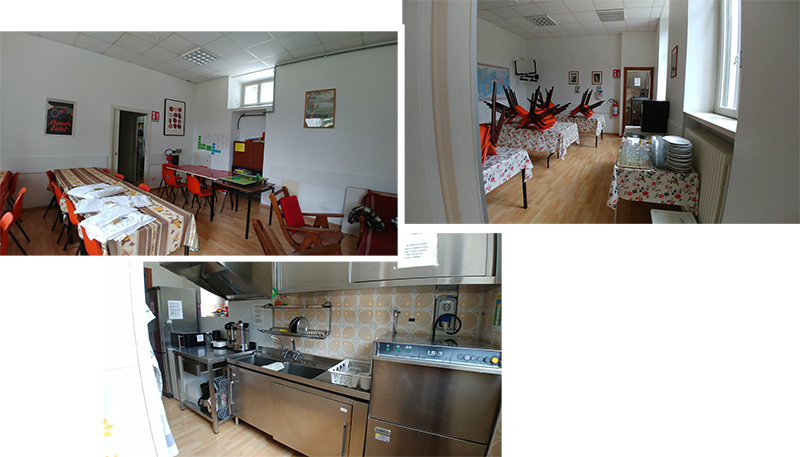 Common room, dining room and shared kitchen