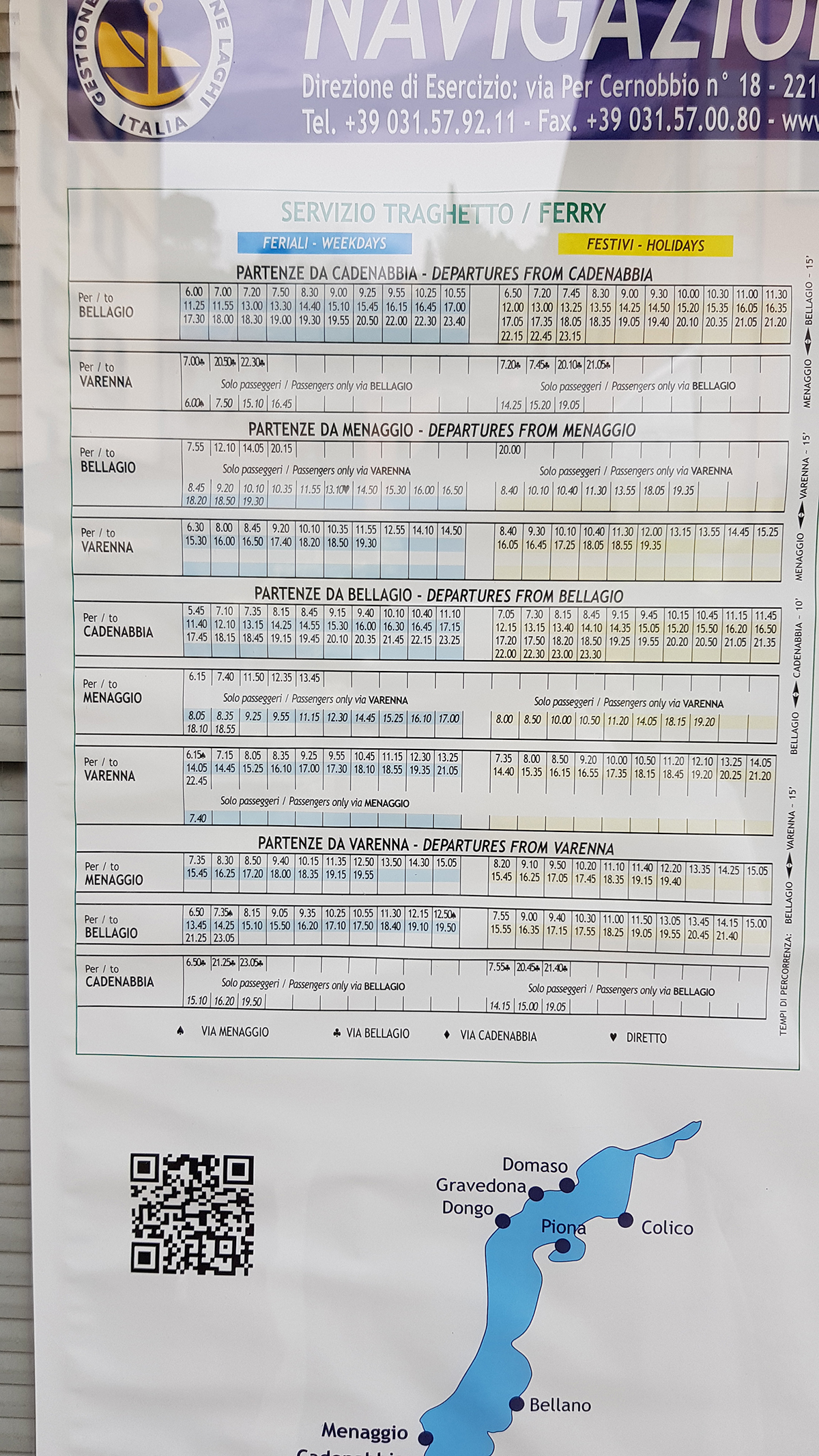 Ferry time table