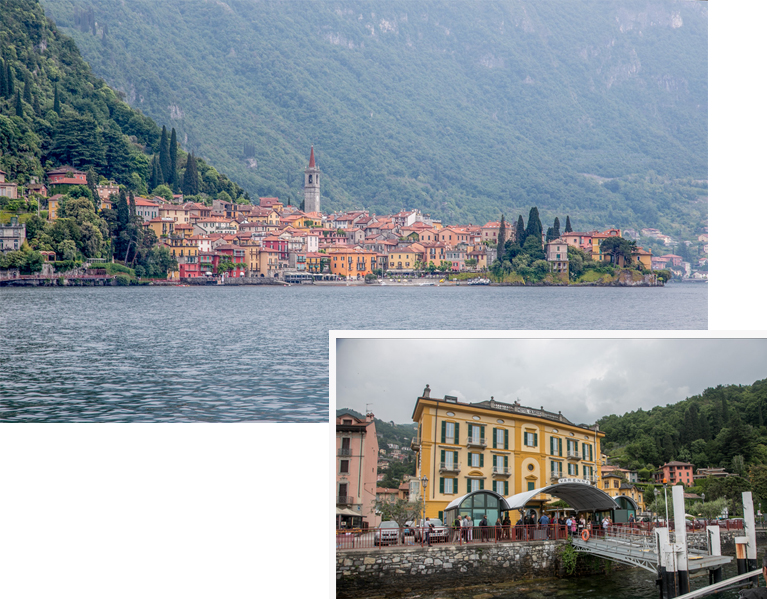 Varenna as viewed from the lake and its ferry landing
