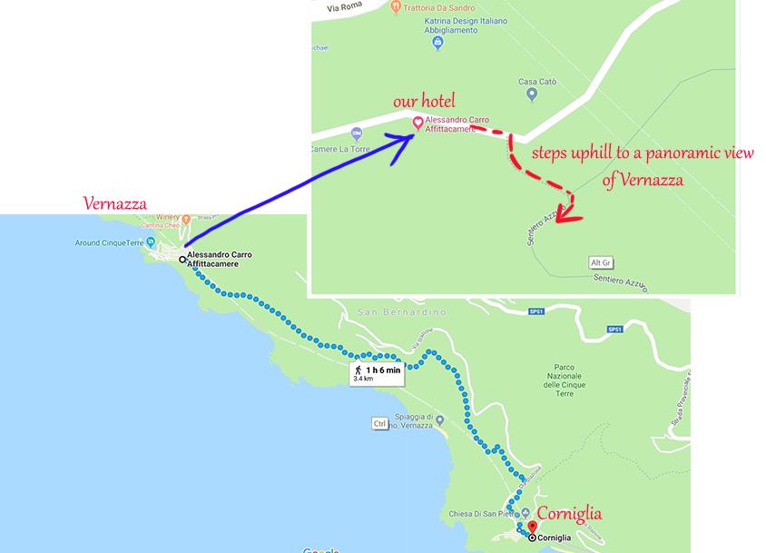 Hiking trail from Vernazza to Corniglia