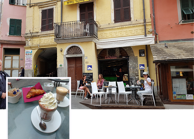 Coffee, chocolate with cream and pastries at Riomaggiore