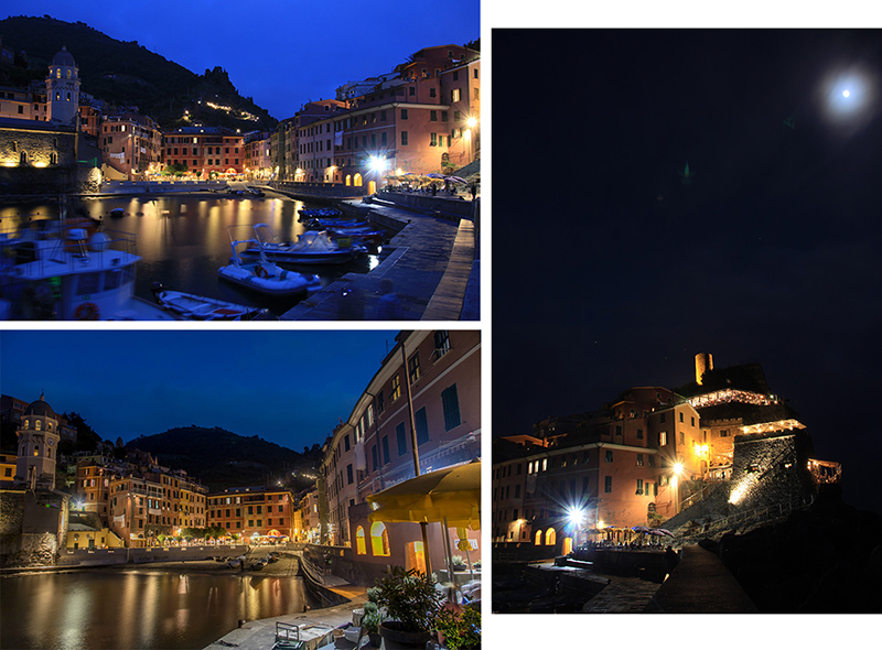 Vernazza harbour front at night
