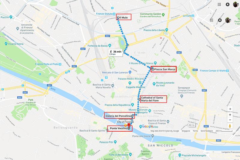 Route to Ponte Vecchio