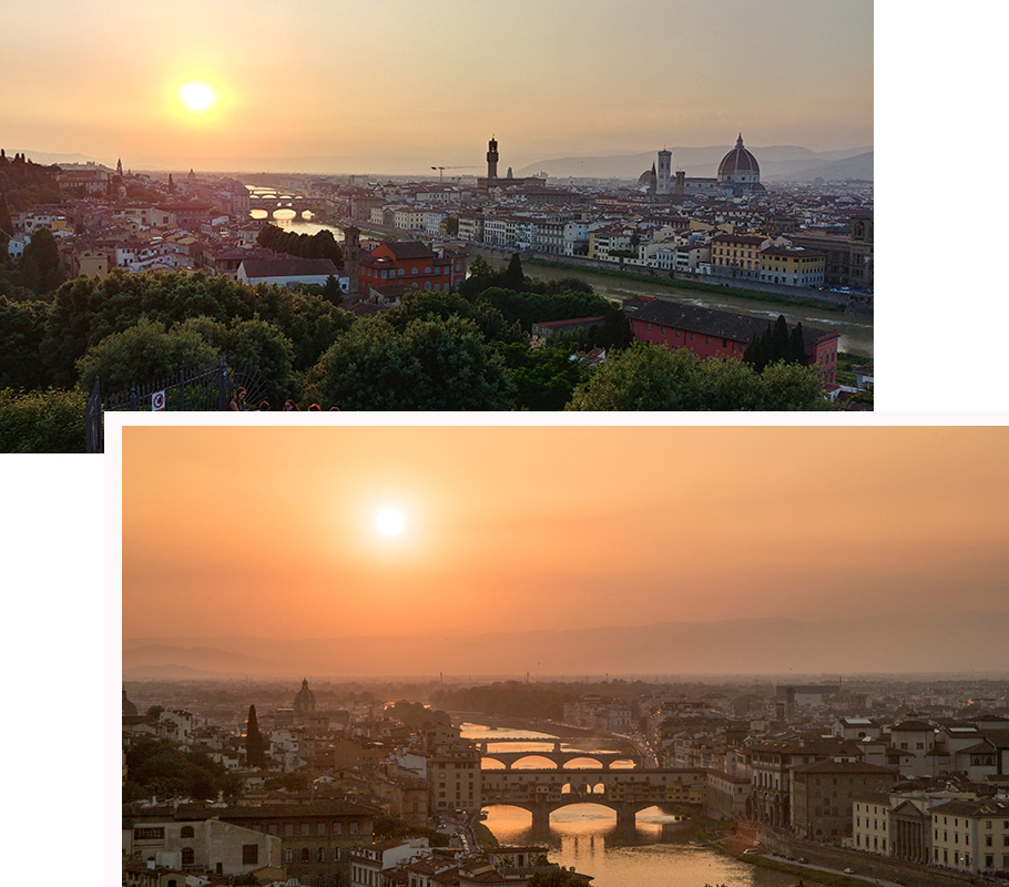 Sun setting over Florence