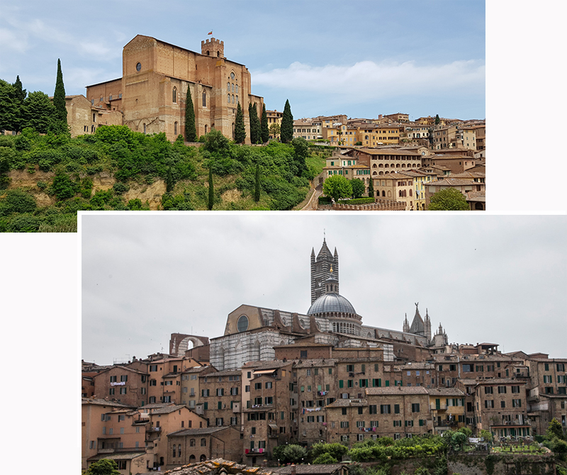 Basilica Cateriniana San Domenico (top) and Duomo di Siena (bottom)