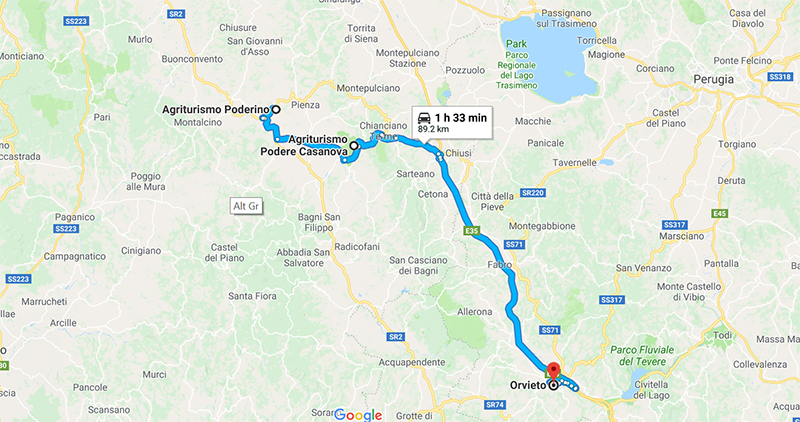 Route from Val d'Orcia to Orvieto