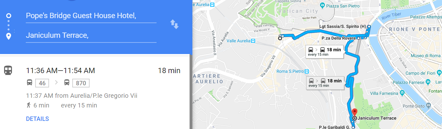 Bus route to Janiculum Terrace