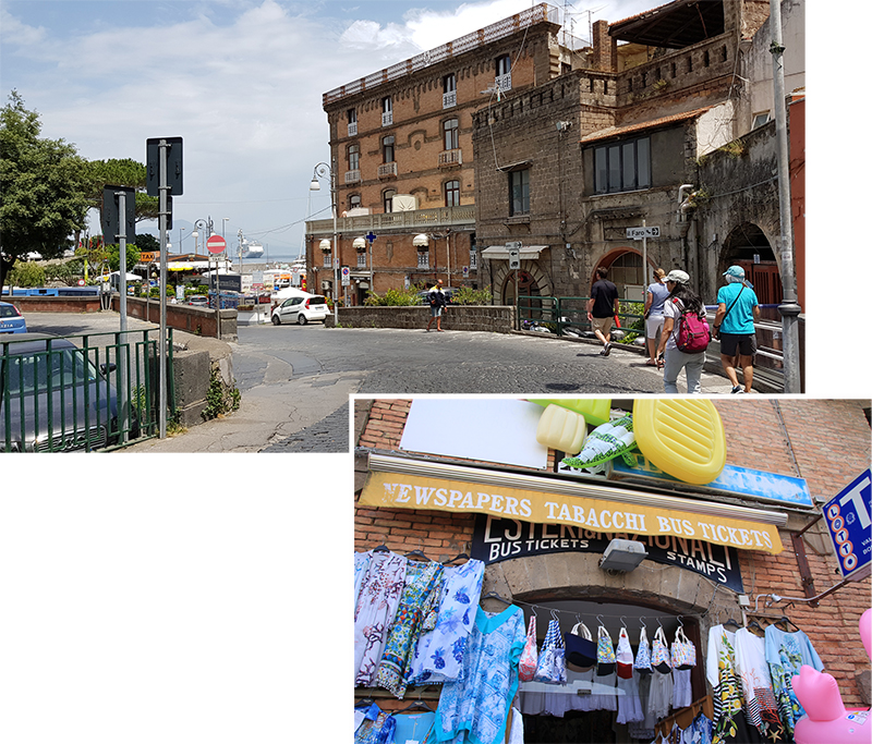 Sorrento Port and the Shop that sold Capri Funicular Tickets