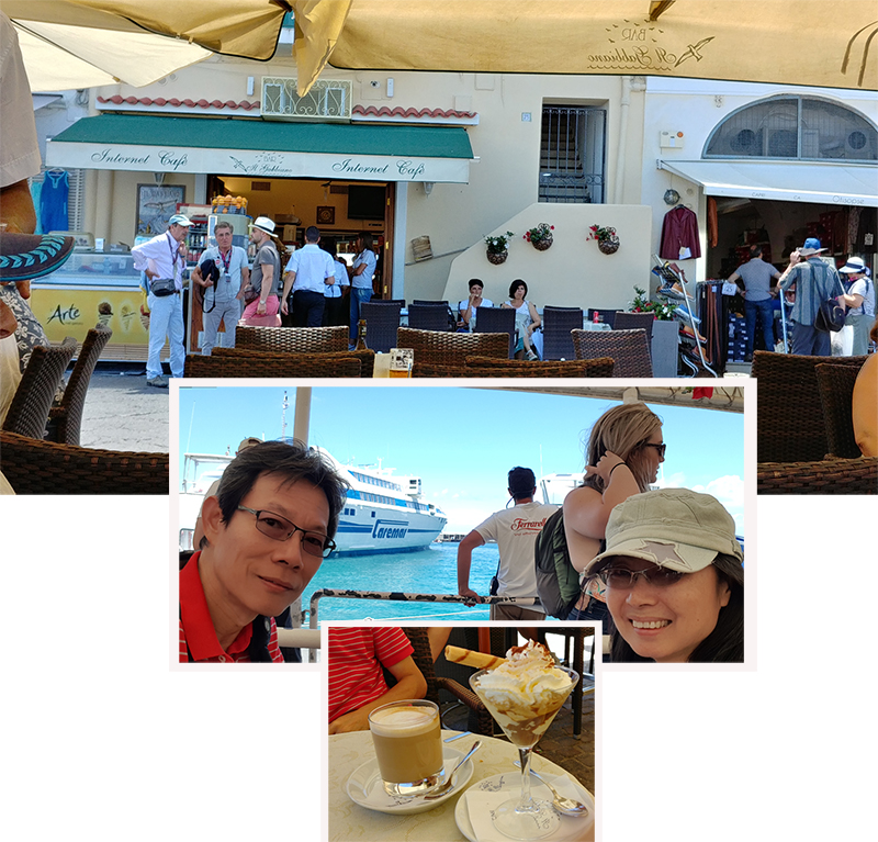 Coffee break at habour side cafe Gabbiano
