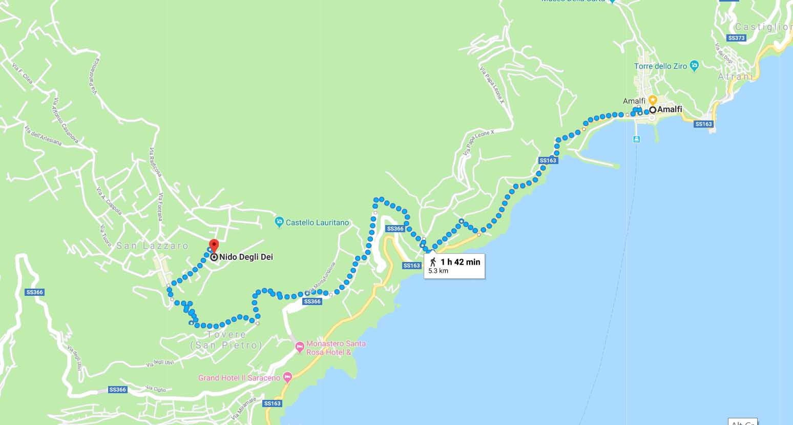Trekking from San Lazzaro to Amalfi town