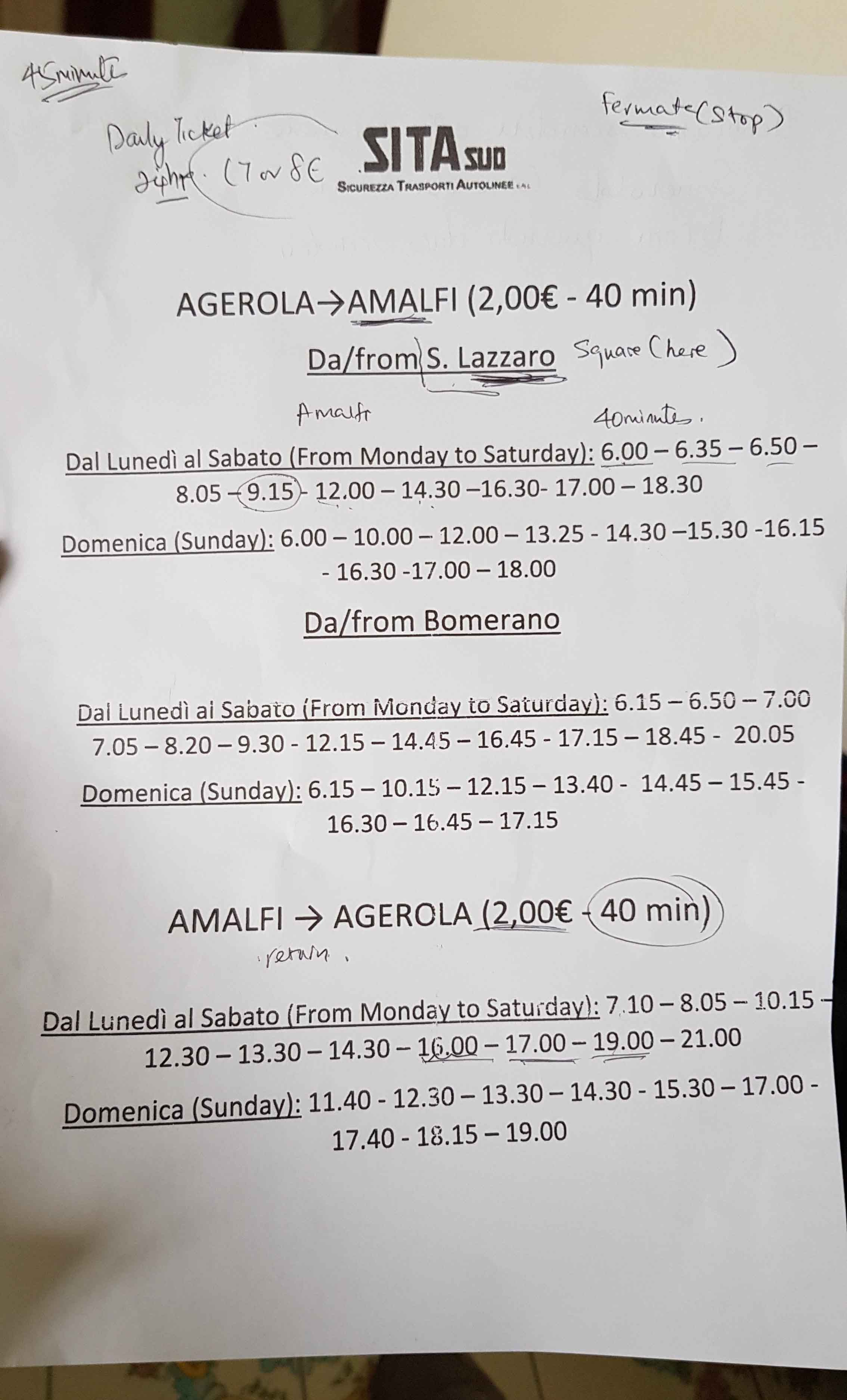 Bus schedule between San Lazzaro and Amalfi town
