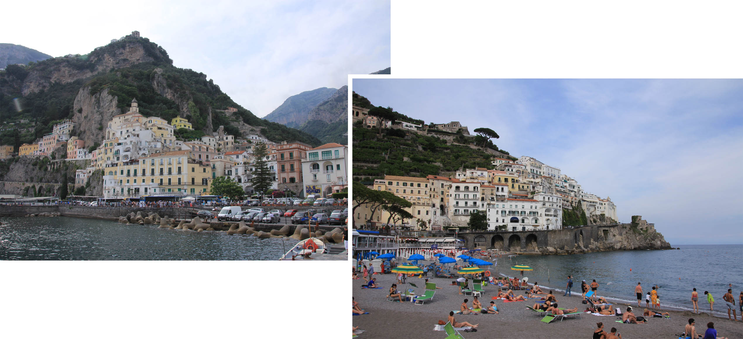 Promenade and beach at Amalfi town