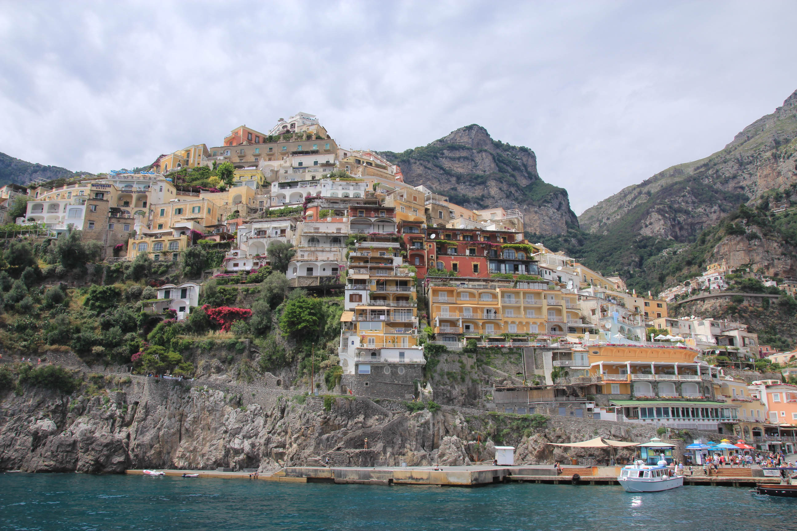 Positano as seen from the sea inward