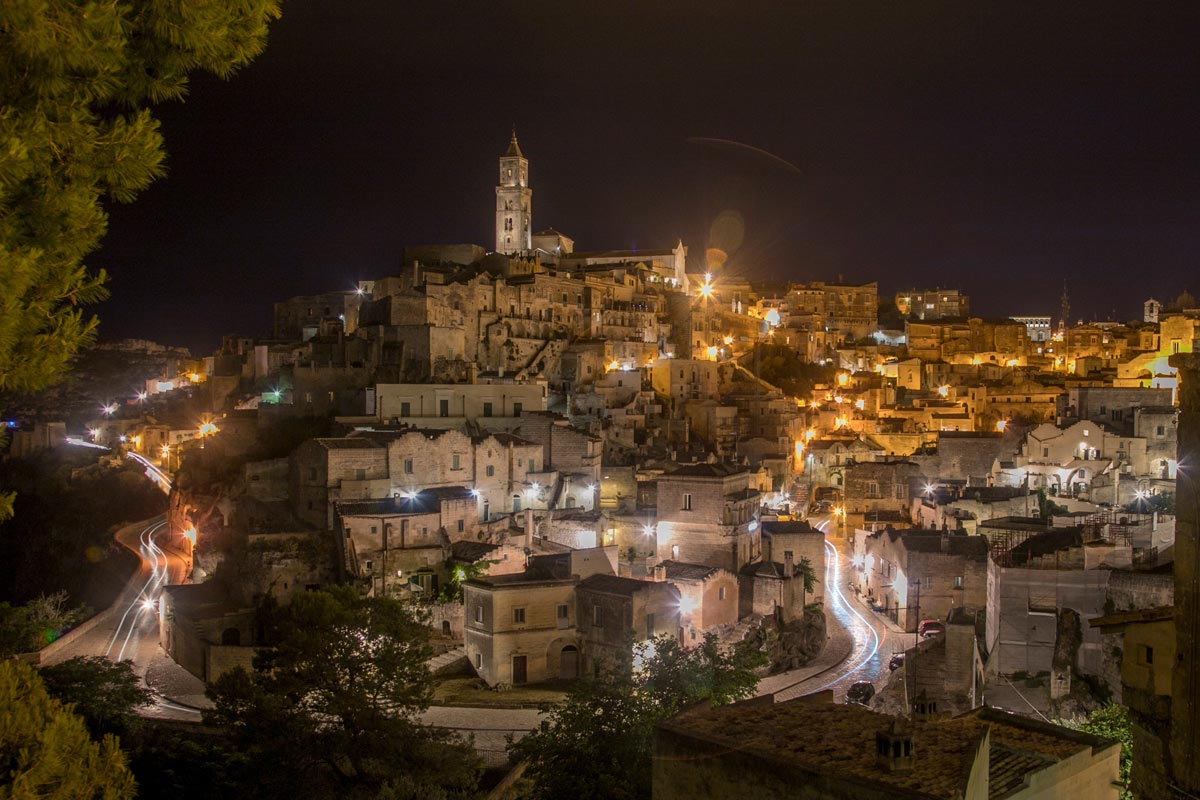 Night view of Matera as seen from Convent di Saint Augustino