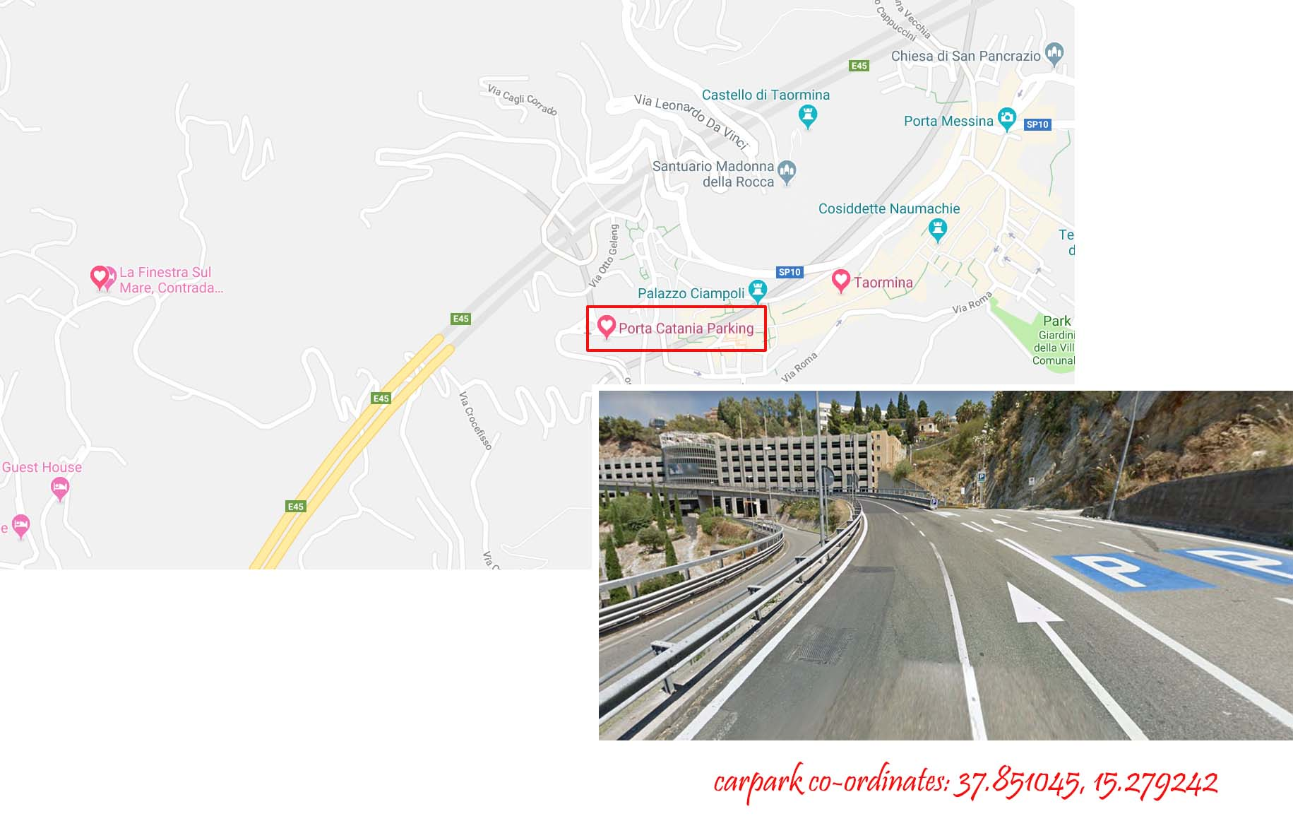 Location of Porta Catania Parking