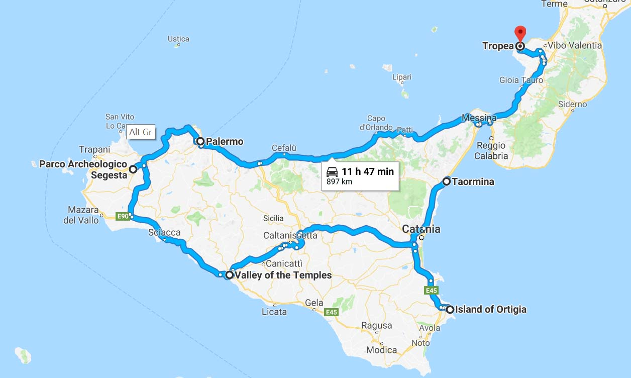 Our original plan (Sicily route)