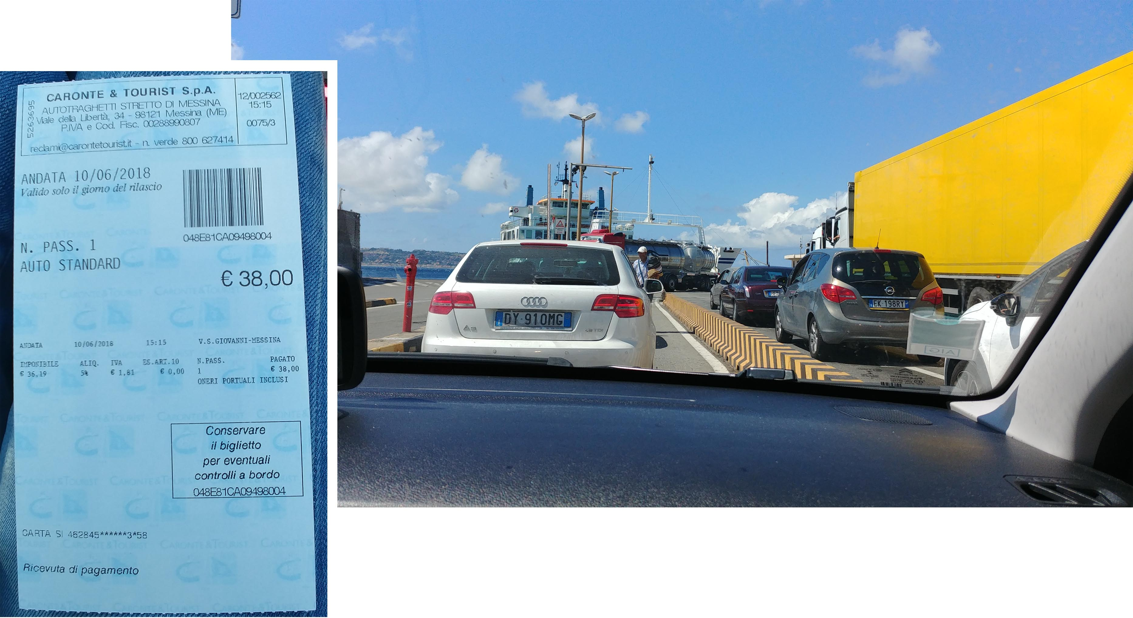 Waiting to board a car ferry to Sicily