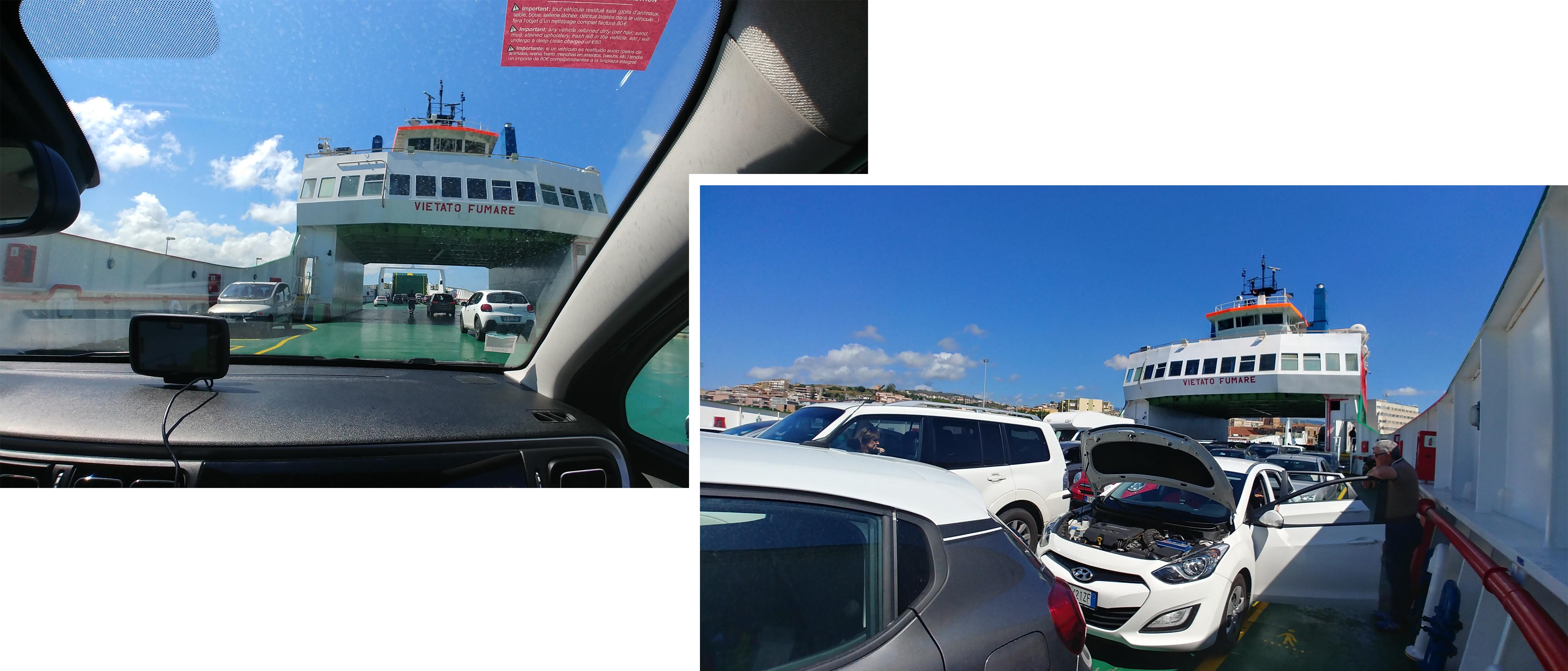 On the car ferry to Sicily