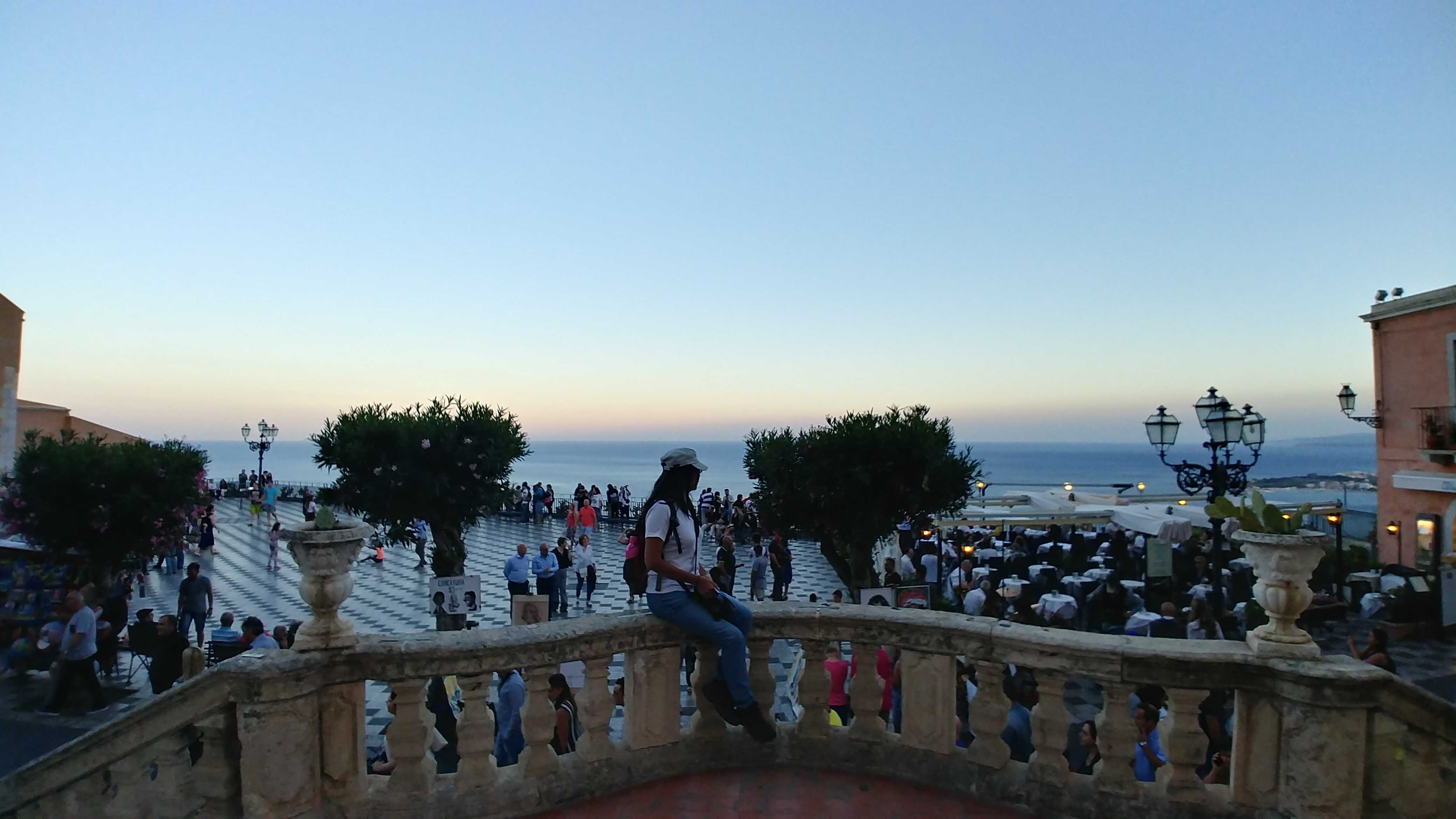 On the stair of Chiesa di San Giuseppe over looking the sea
