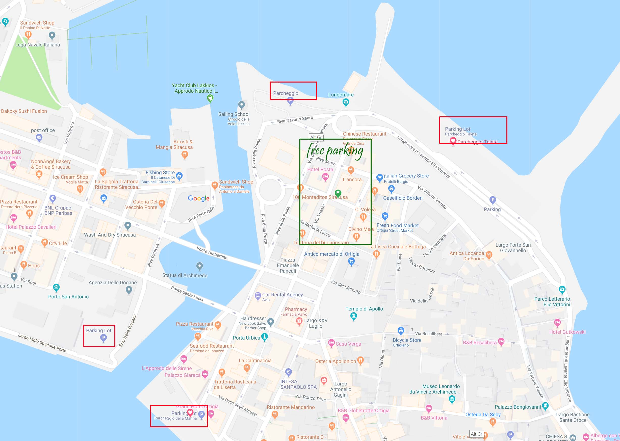 Parking on the mainland and in Ortigia