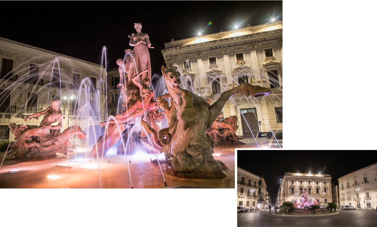 Fountain of Diana at 10.20 pm