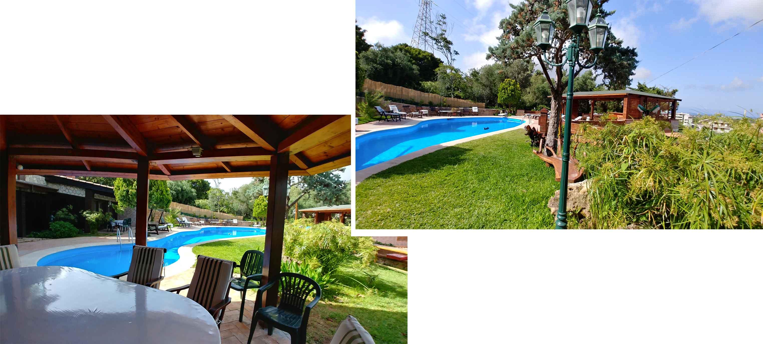 Pool, gazebo and the mainbuilding inthe background
