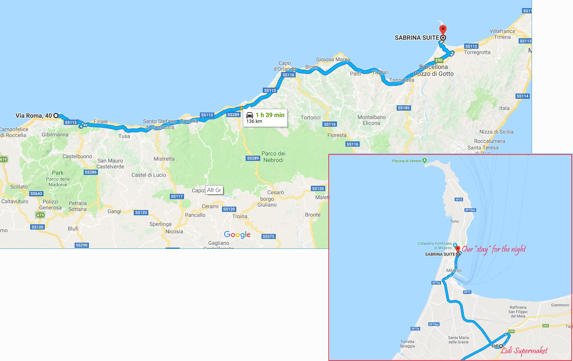 Route from Cefalu to Milazzo
