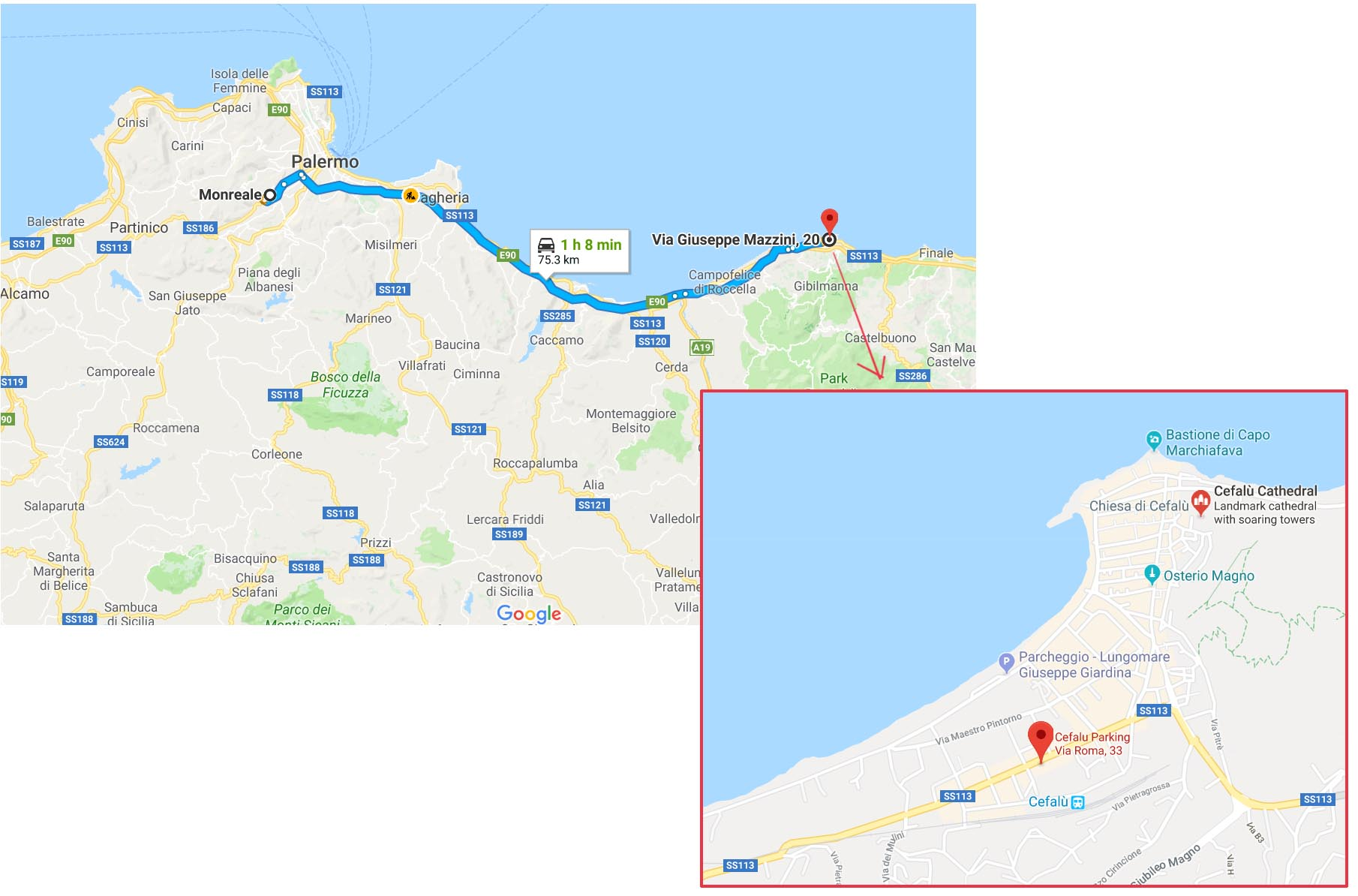 Route to Cefalu and parking