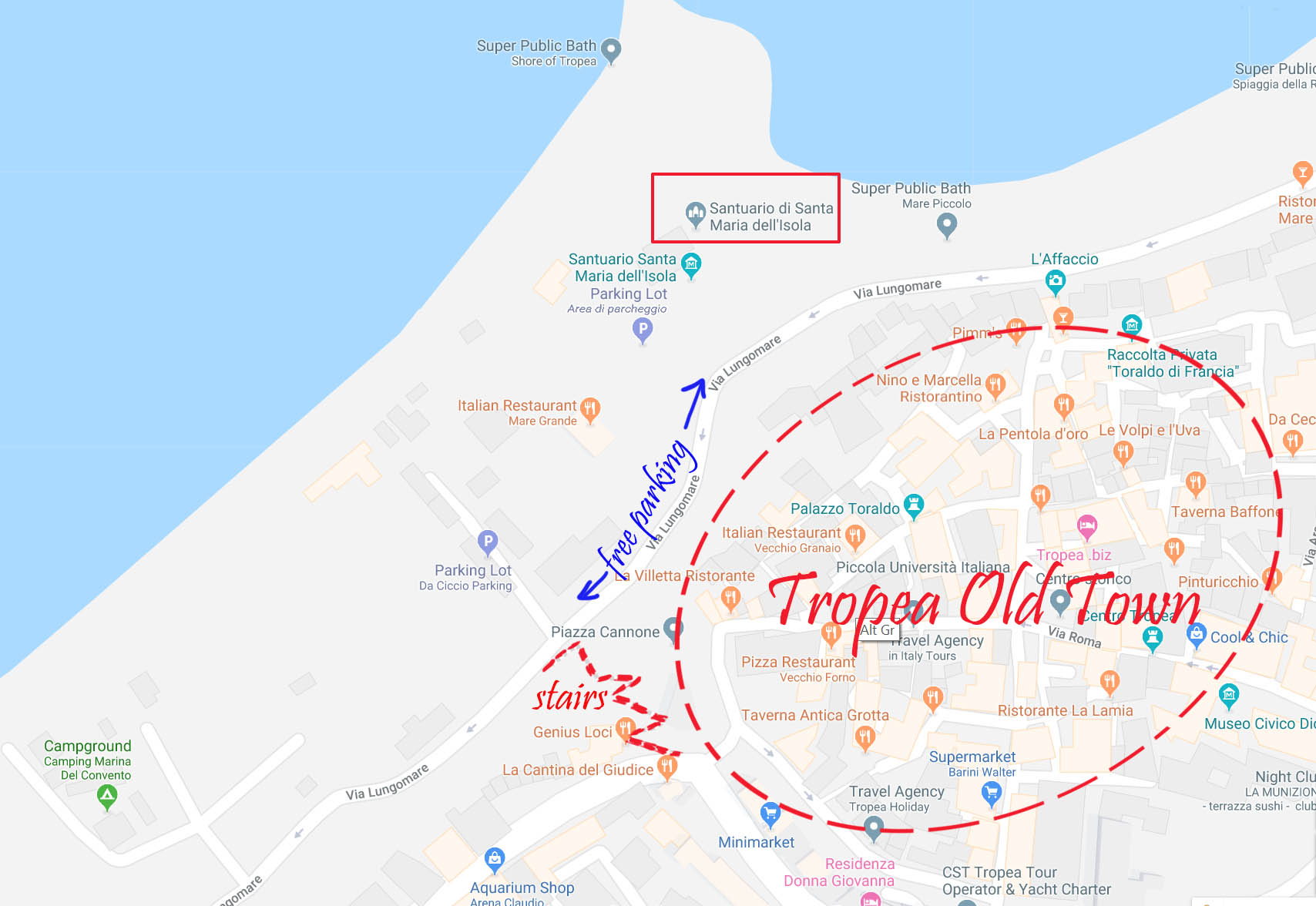Map of Tropea