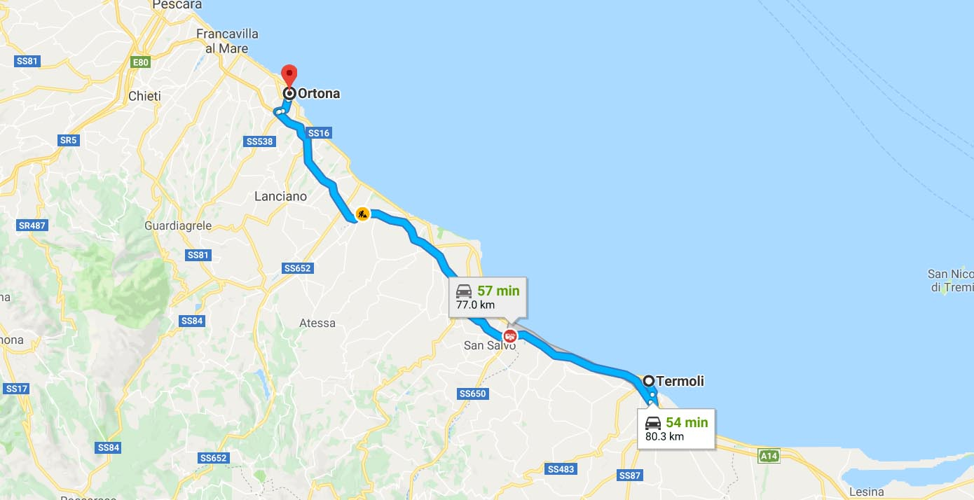 Route from Termoli to Ortano