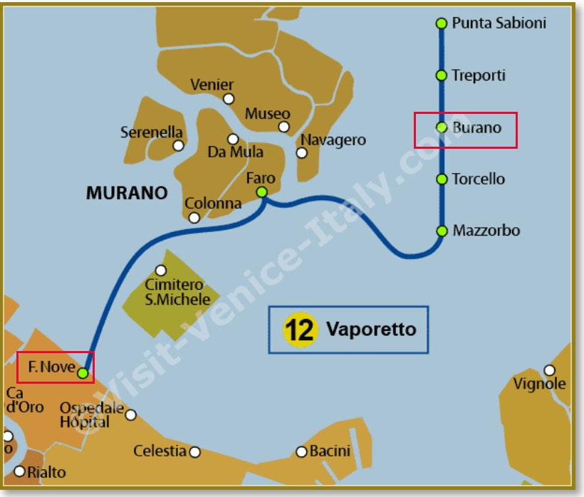 Route Waterbus 12 (www.visit-venice-italy.com)