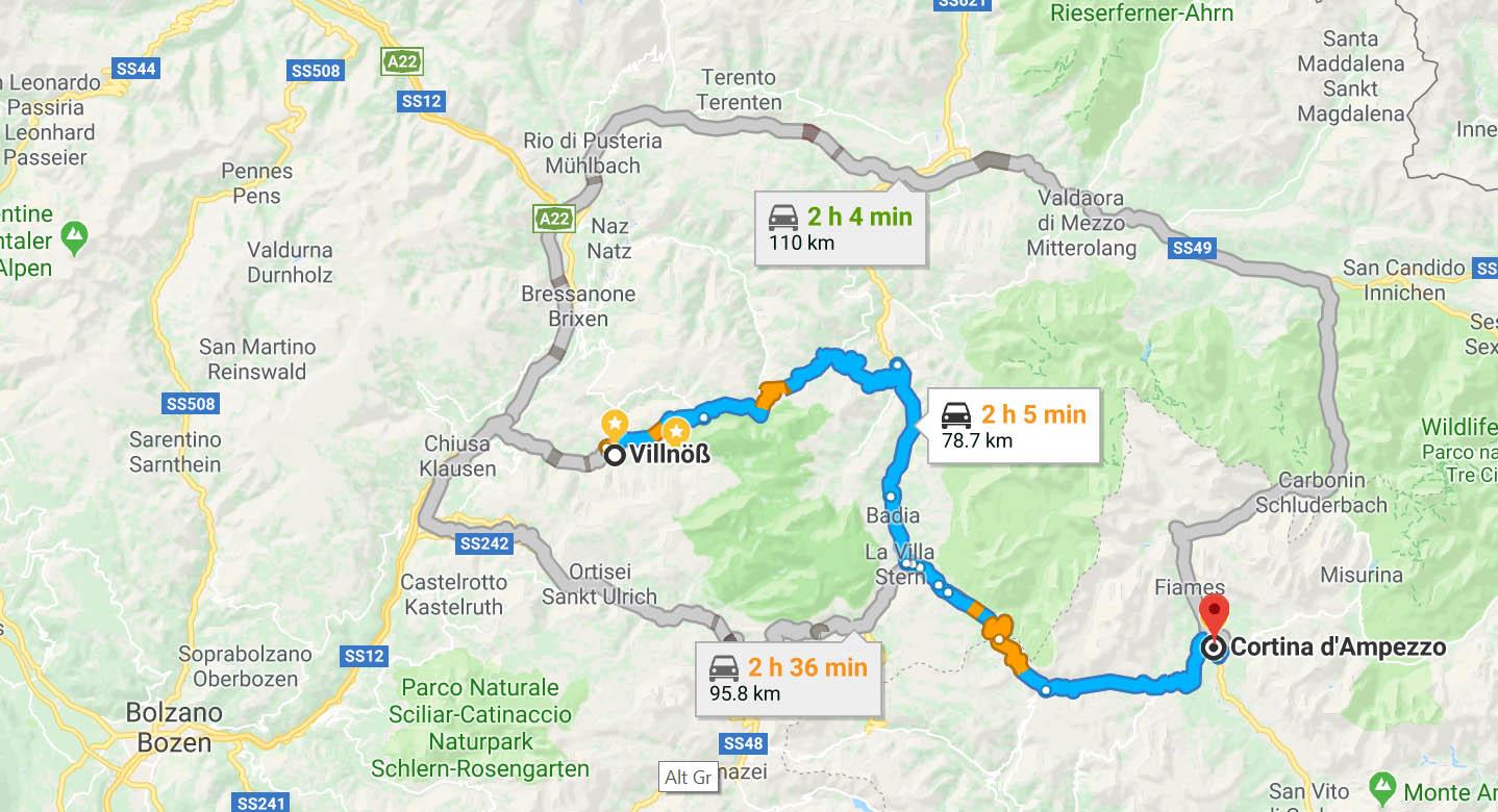 Route to Villnöß