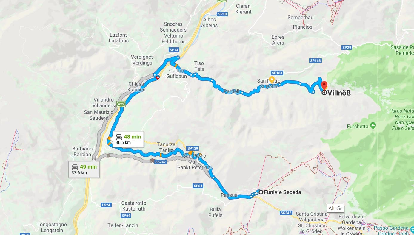 Route to Seceda Funivie