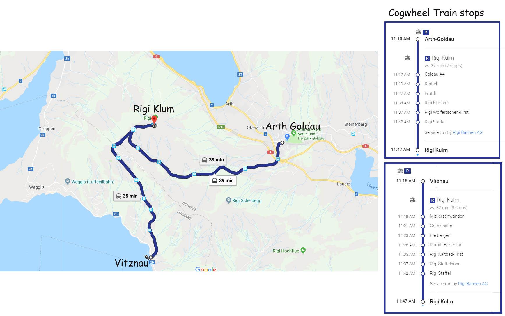 Rigi cogwheel routes and train stops