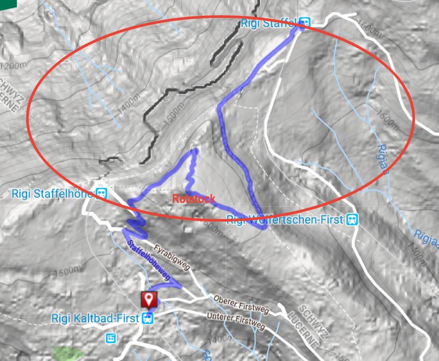 Route from Rigi Staffel to Rotstock to Rigi Staffehohe