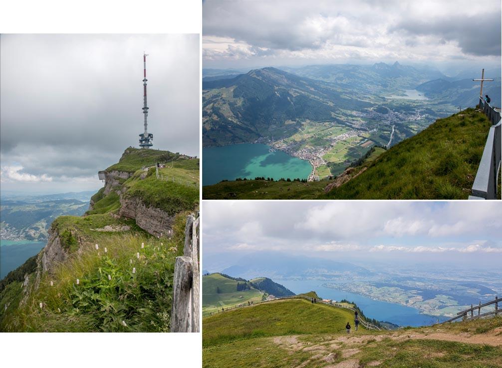Television transmission tower and panoramic views at Rigi Kulm