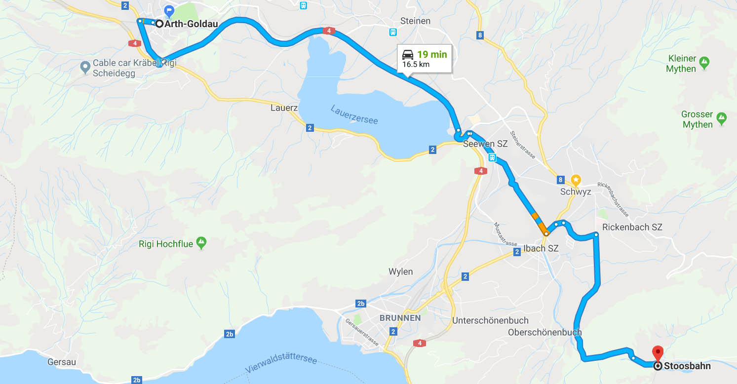 Drive from Arth-Goldau to Stoosbahn