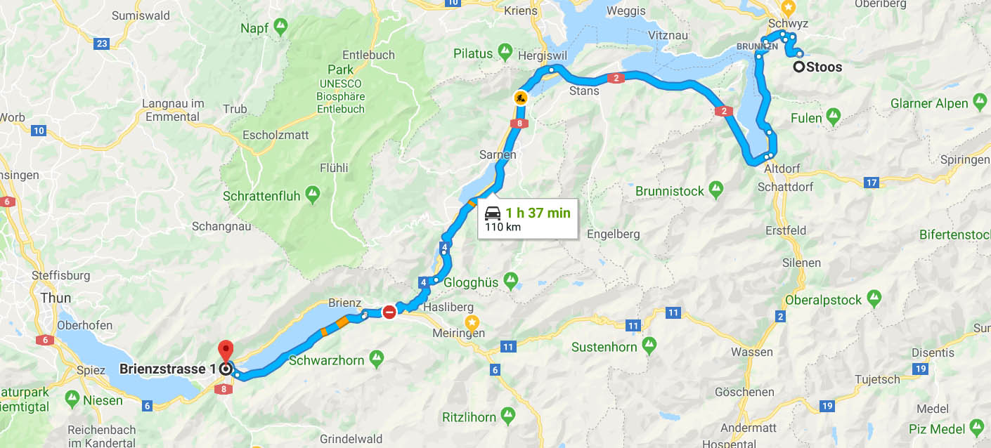 Route from Stoosbahn to Interlaken