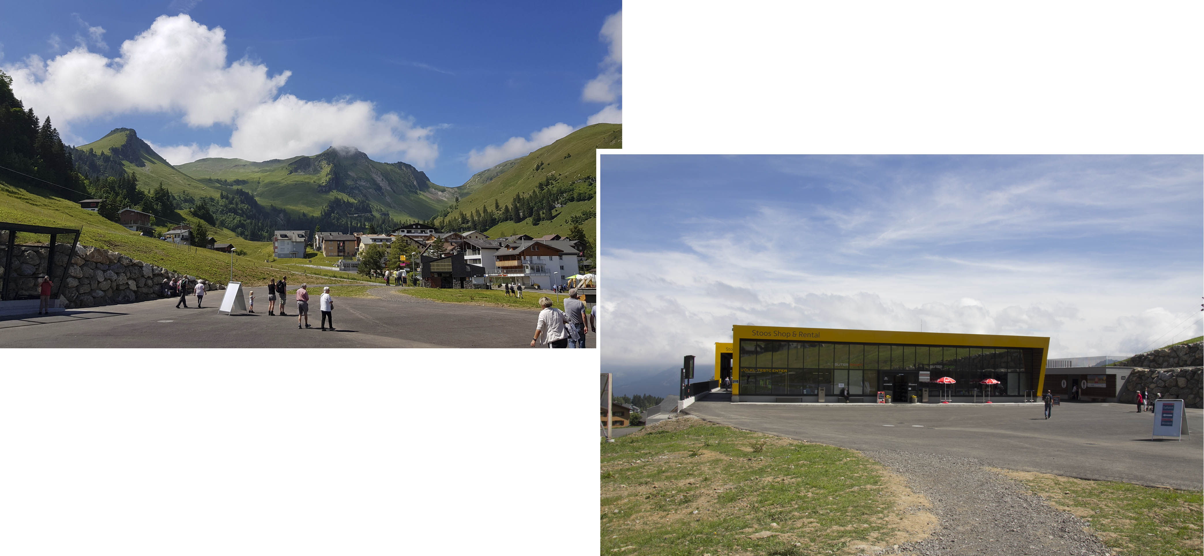 Funicular mountain station in the center of Stoos